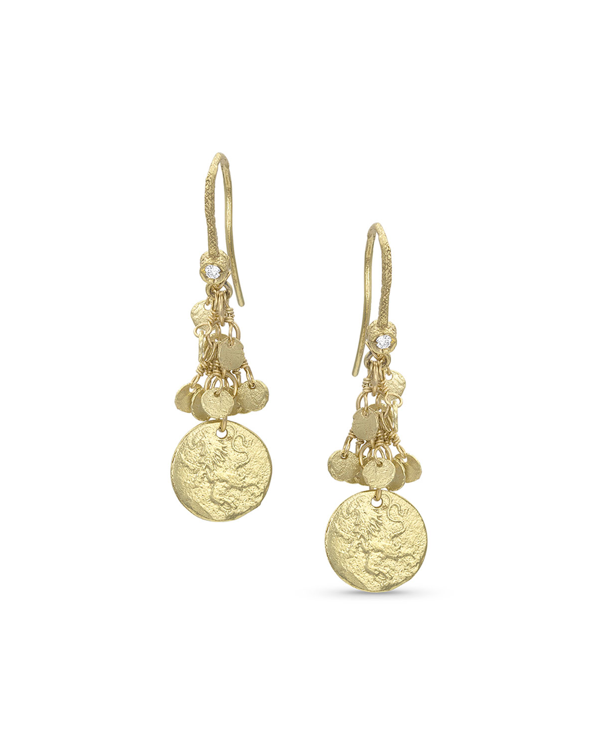18k Yellow Gold Griffin Coin Classic Fringe Earrings
