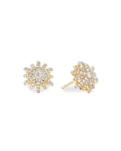Starburst 18k Yellow Gold Diamond Pave Small Stud Earrings