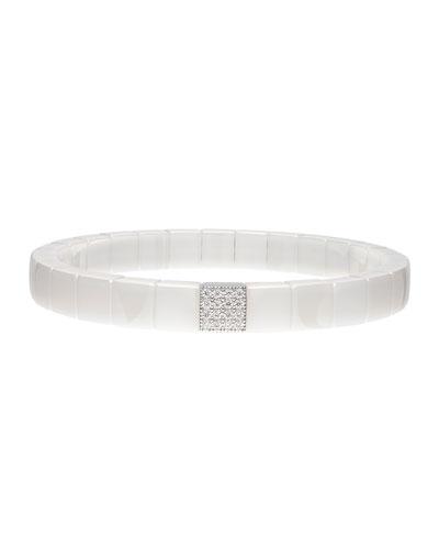 SCACCO White Ceramic Diamond 1-Bead Stretch Bracelet