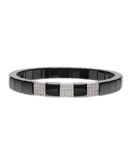 Roberto Demeglio SCACCO Black Ceramic Diamond 3-Bead Stretch Bracelet