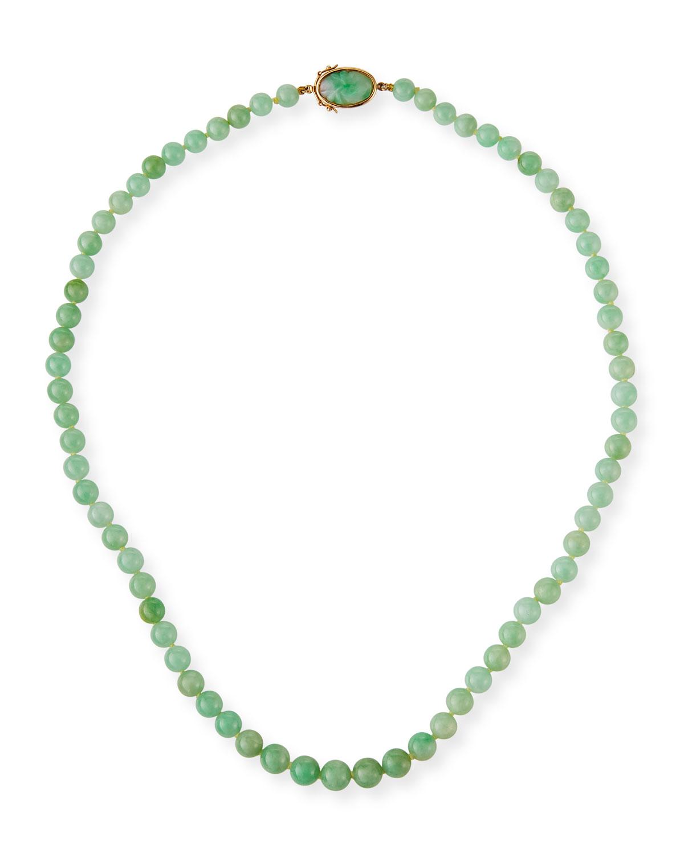 Graduated Green Jade Beaded Necklace