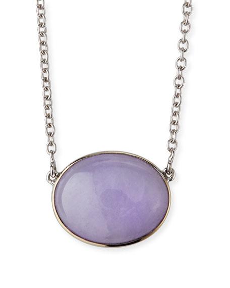 David C.A. Lin 18k White Gold Lavender Jade Pendant Necklace