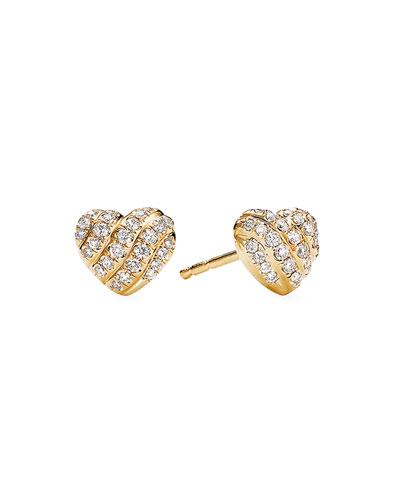18K Yellow Gold Diamond Heart Stud Earrings