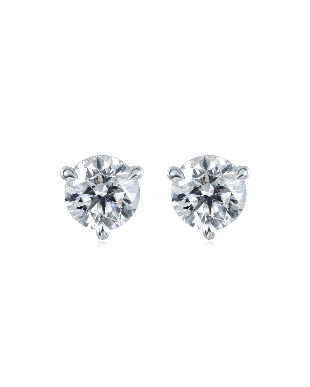 Platinum Diamond Post Earrings