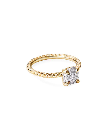 David Yurman Chatelaine Ring in 18K Yellow Gold with Full Pave Diamonds, Size 7