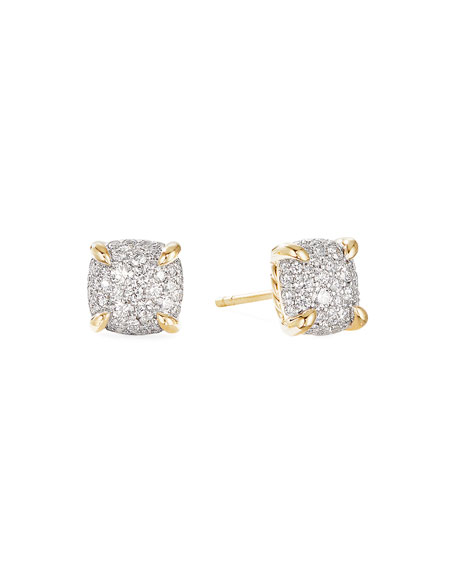 David Yurman Chatelaine Stud Earrings in 18K Yellow Gold with Full Pave Diamonds, 7mm