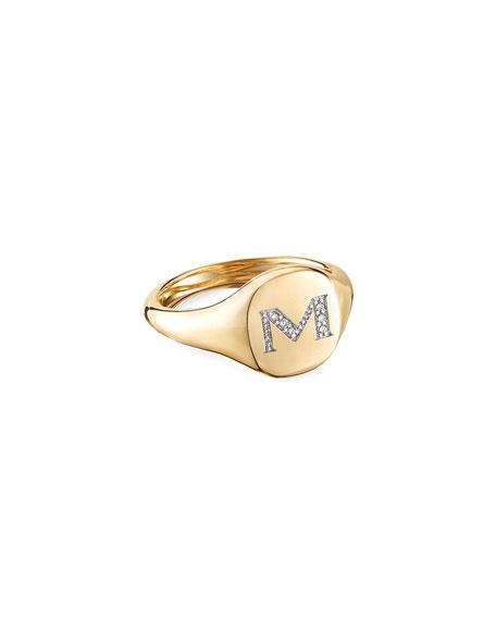 David Yurman Mini DY Initial M Pinky Ring in 18K Yellow Gold with Diamonds, Size 2.5
