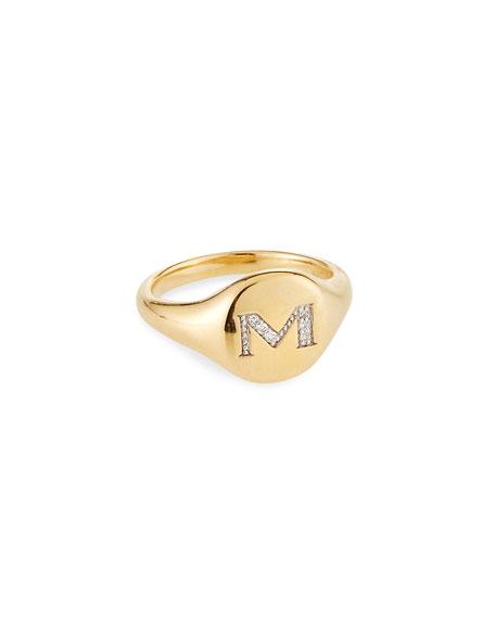 David Yurman Mini DY Initial M Pinky Ring in 18K Yellow Gold with Diamonds, Size 3.5