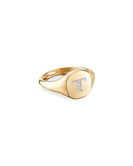 David Yurman Mini DY Initial Pinky Ring in 18k Yellow Gold and Diamonds, Size 3.5