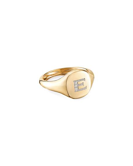 David Yurman Mini DY Initial E Pinky Ring in 18K Yellow Gold with Diamonds, Size 3