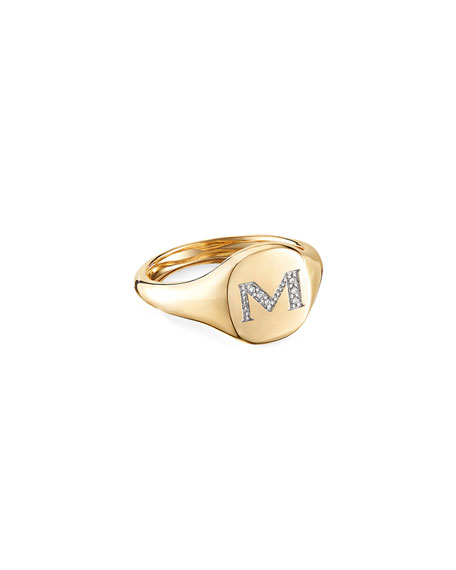 David Yurman Mini DY Initial M Pinky Ring in 18K Yellow Gold with Diamonds, Size 3