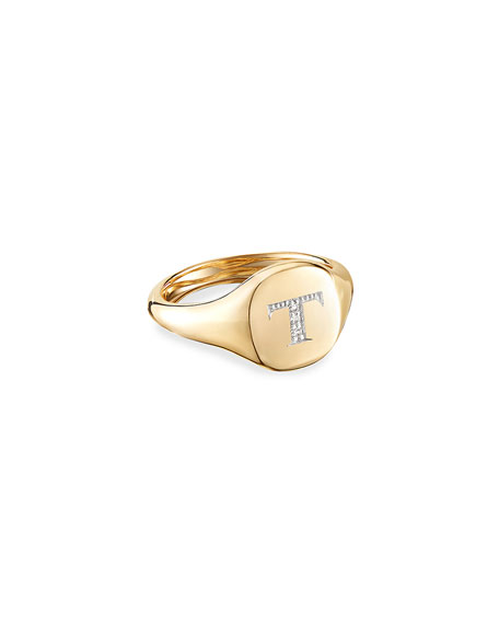 David Yurman Mini DY Initial Pinky Ring in 18k Yellow Gold and Diamonds, Size 3