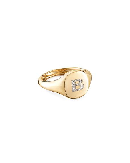 David Yurman Mini DY Initial B Pinky Ring in 18K Yellow Gold with Diamonds, Size 4.5