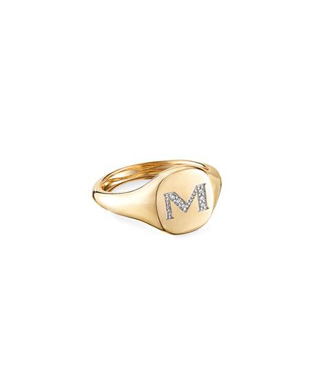 David Yurman Mini DY Initial M Pinky Ring in 18K Yellow Gold with Diamonds, Size 4.5