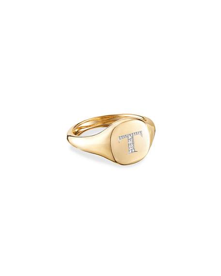 David Yurman Mini DY Initial Pinky Ring in 18k Yellow Gold and Diamonds, Size 4.5
