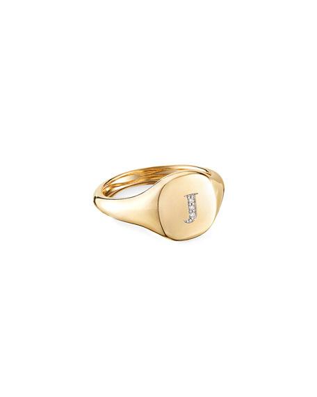 David Yurman Mini DY Initial J Pinky Ring in 18K Yellow Gold with Diamonds, Size 5.5