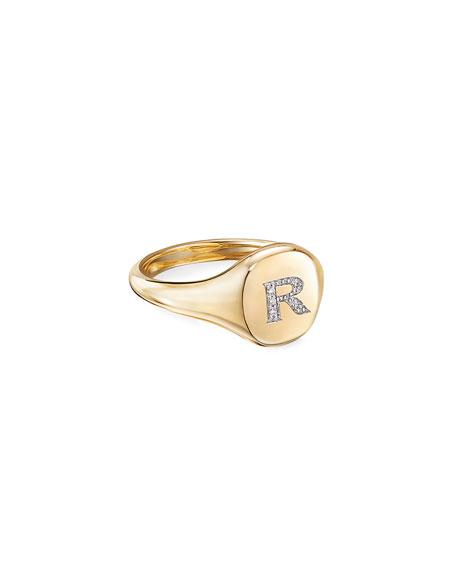 David Yurman Mini DY Initial R Pinky Ring in 18K Yellow Gold with Diamonds, Size 4.5