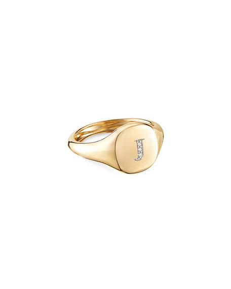 David Yurman Mini DY Initial J Pinky Ring in 18K Yellow Gold with Diamonds, Size 5