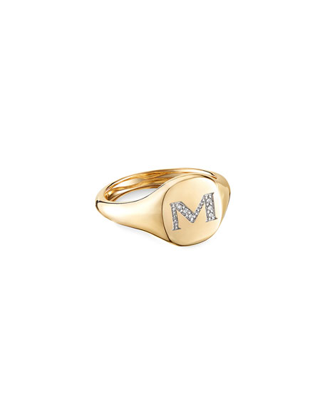David Yurman Mini DY Initial M Pinky Ring in 18K Yellow Gold with Diamonds, Size 5
