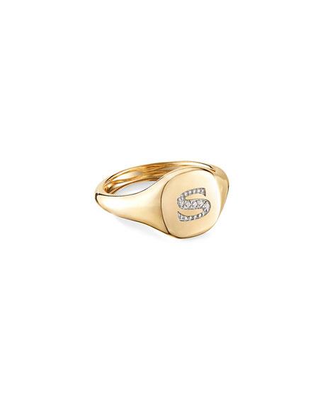 David Yurman Mini DY Initial S Pinky Ring in 18K Yellow Gold with Diamonds, Size 5