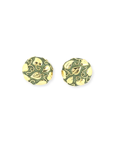 Estate Domed Green Enamel Clip Earrings