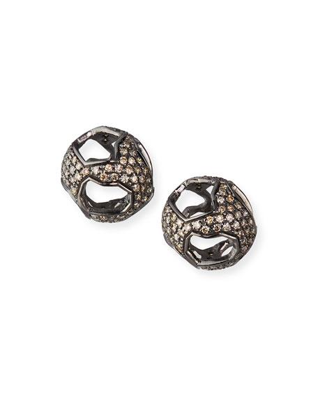 Marco Dal Maso 18k Black Gold Diamond Ball Earrings