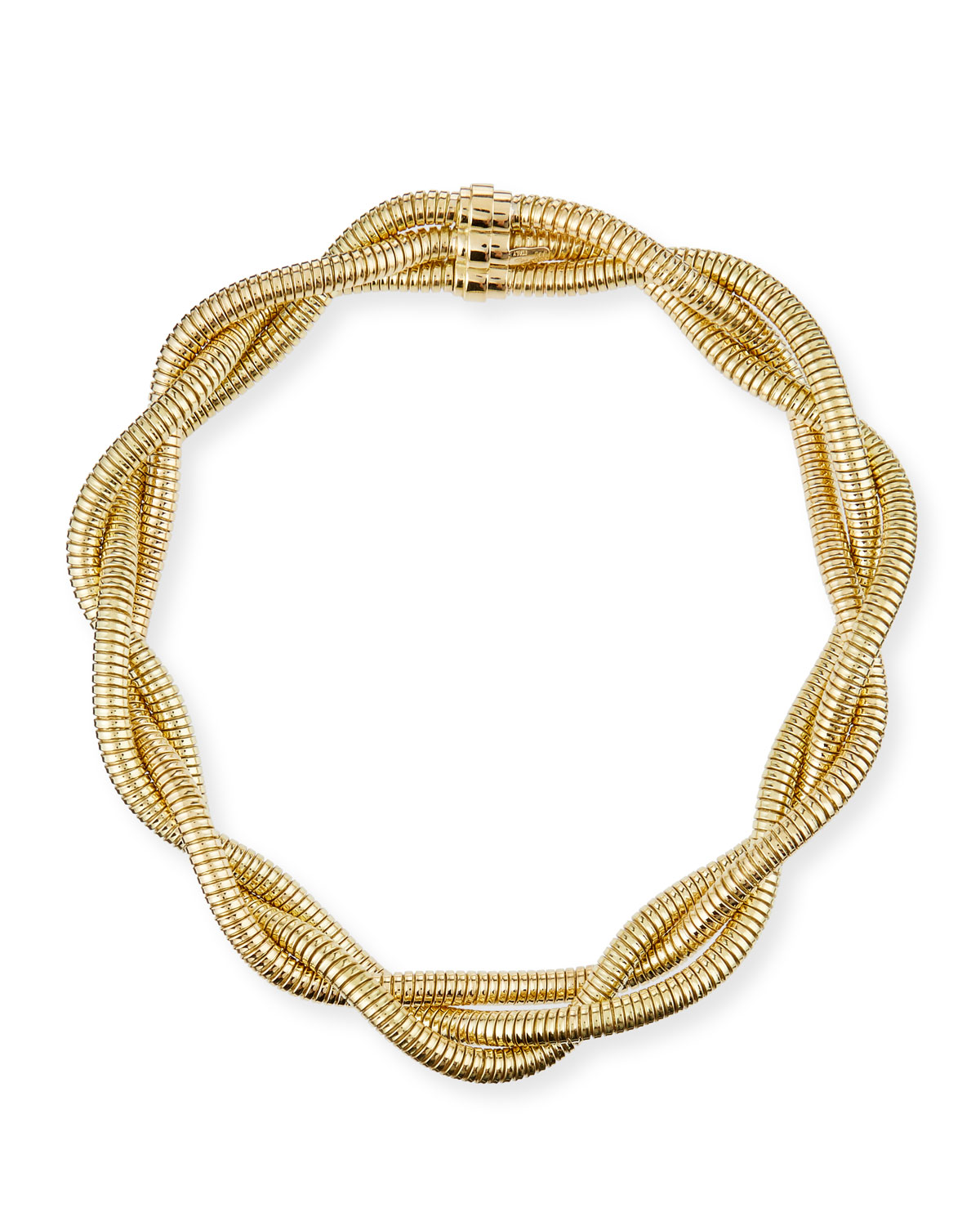 18k Gold 3-Row Braided Necklace