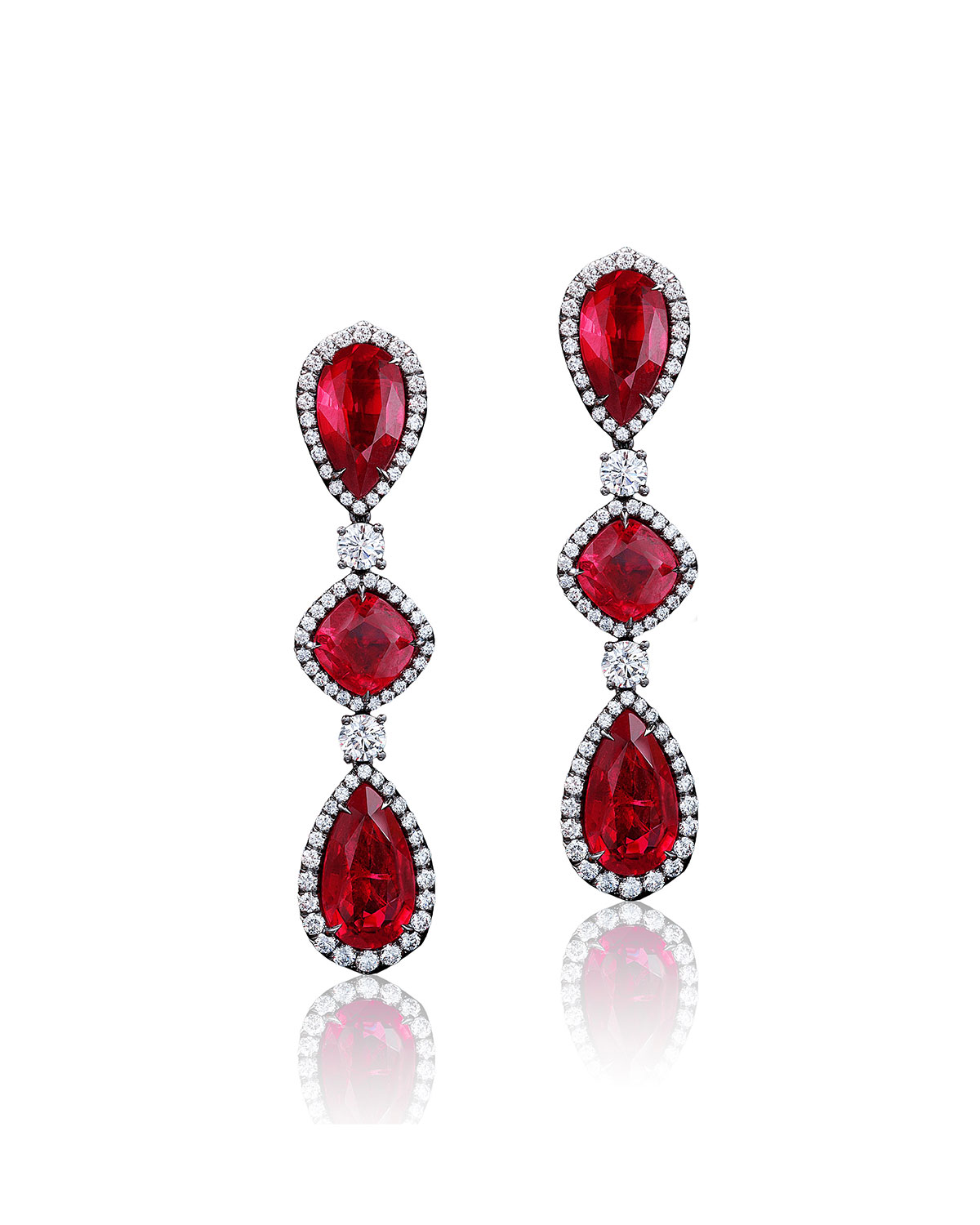 18k Black Gold Mozambique Ruby and Diamond Earrings