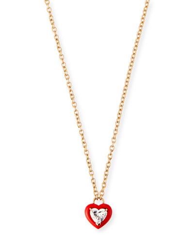 18k Rose Red Ceramic Diamond Heart Necklace