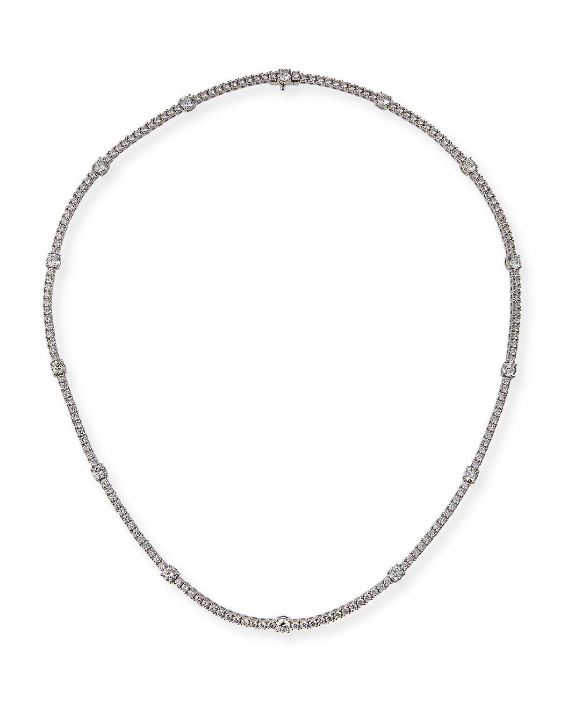Diamond Line 18k White Gold Tennis Necklace
