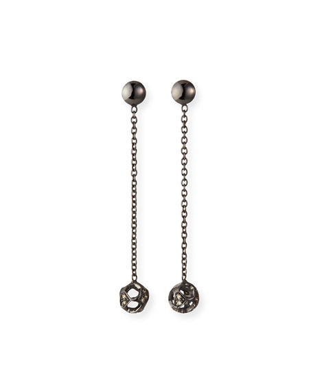 Marco Dal Maso 18k Black Gold Diamond Ball and Chain Earrings