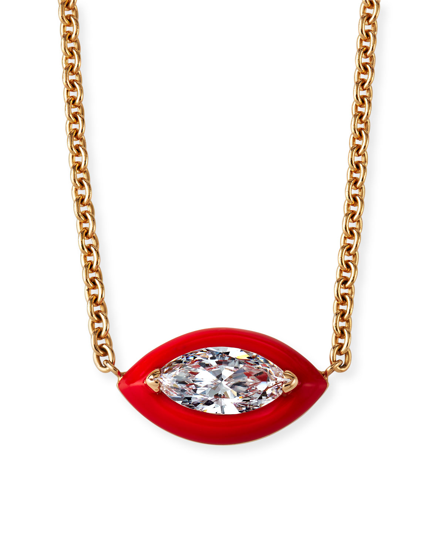 18k Red Ceramic Marquise Diamond Necklace