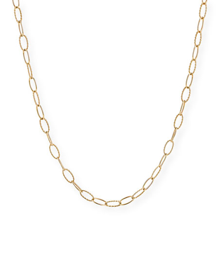 David Yurman Stax Elongated Oval Link Chain Necklace in 18k Gold, 18""