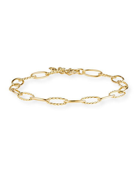 David Yurman Stax Elongated Oval Link Chain Bracelet in 18k Gold, Size L
