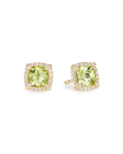 Petite Chatelaine Pave Bezel Stud Earrings in 18K Yellow Gold with Peridot