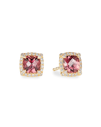 Petite Chatelaine Pave Bezel Stud Earrings in 18K Yellow Gold with Pink ...