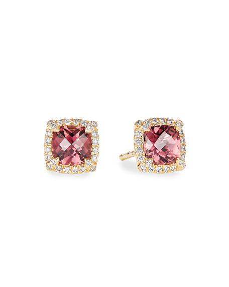 David Yurman Petite Chatelaine Pave Bezel Stud Earrings in 18K Yellow Gold with Pink Tourmaline