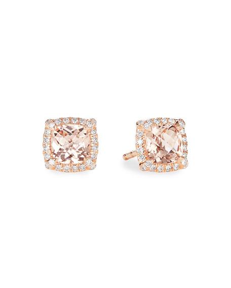 David Yurman Petite Chatelaine Pave Bezel Stud Earrings in 18K Rose Gold with Morganite