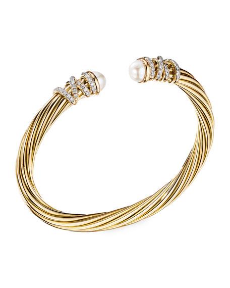 David Yurman Helena Pearl Bracelet with Diamonds, Size L