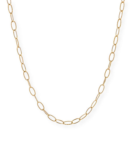David Yurman Stax Elongated Oval Link Chain Necklace in 18k Gold, 32""