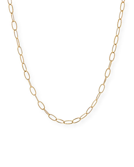 """David Yurman Stax Elongated Oval Link Chain Necklace in 18k Gold, 36"""""""
