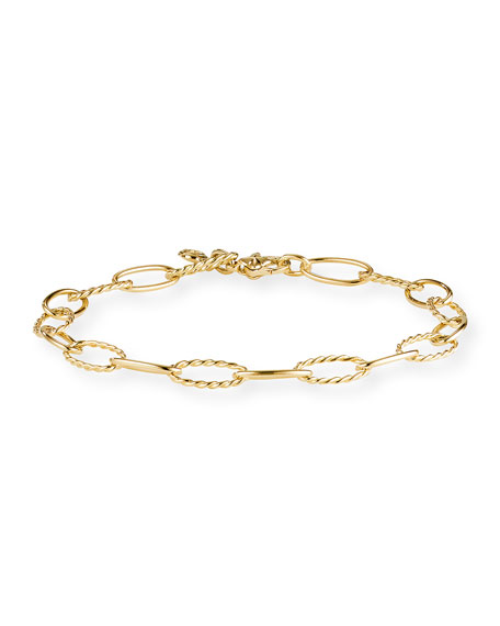David Yurman Stax Elongated Oval Link Chain Bracelet in 18k Gold, Size M