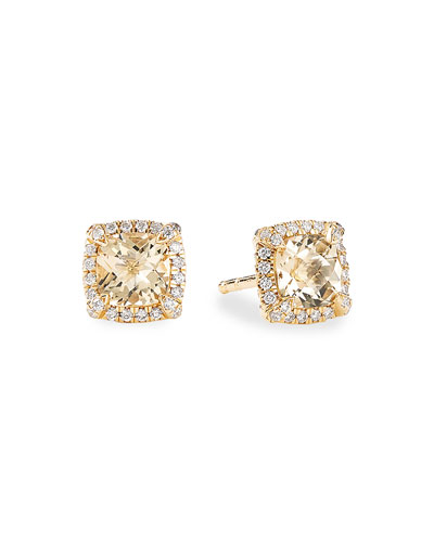 Petite Chatelaine Pave Bezel Stud Earrings in 18K Yellow Gold with ...
