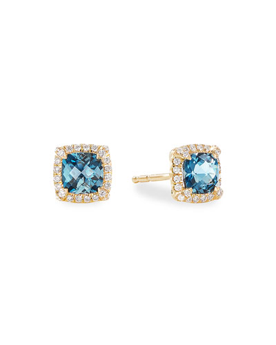 Petite Chatelaine Pave Bezel Stud Earrings in 18K Yellow Gold with Hampton ...