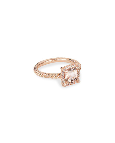 David Yurman Petite Chatelaine Pave Bezel Ring in 18K Rose Gold with Morganite, Size 8