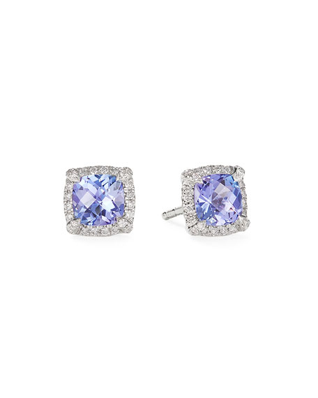 David Yurman Petite Chatelaine Pave Bezel Stud Earrings in 18K White Gold with Tanzanite