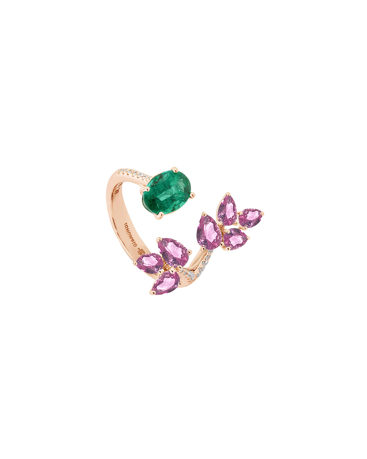 18k Rose Gold Open Emerald-End Ring with Diamonds and Sapphires