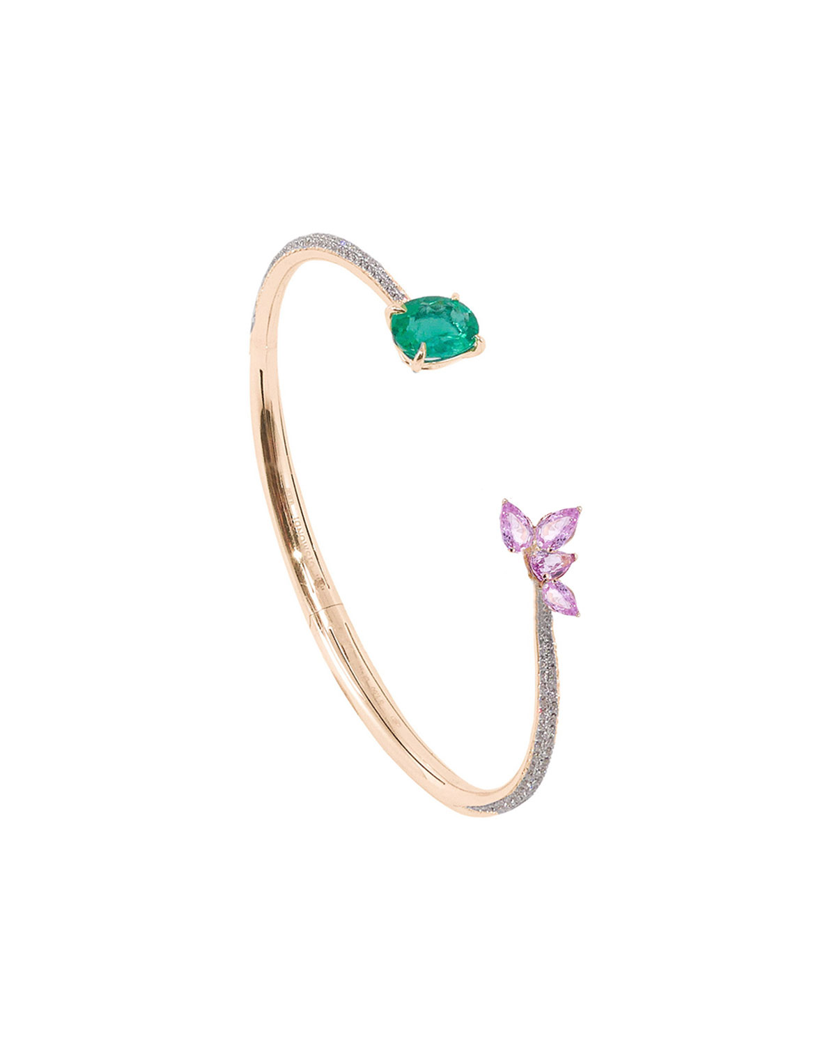 18k Rose Gold Open Emerald-End Bracelet with Diamonds and Sapphires