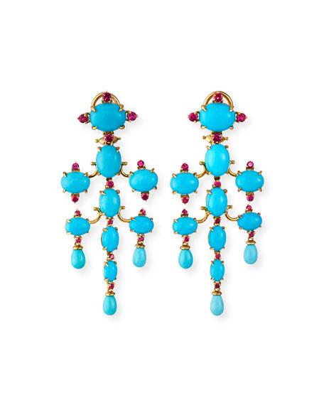 Paul Morelli 18k Turquoise Tiered Chandelier Earrings