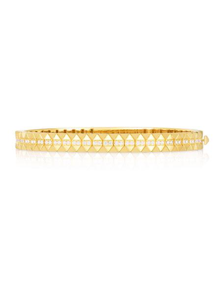 Roberto Coin Rock and Diamonds 18k Yellow Gold Diamond Bangle Bracelet, 48x58mm